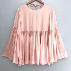 NWT $148 Walter Baker Pleats Peplum Peach Pink Top